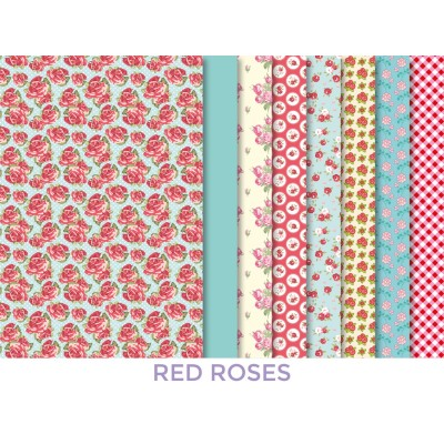 KIT MAKING COUTURE FABRIC SET RED ROSES